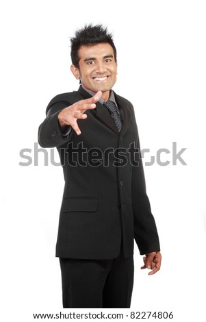 Young happy businessman isolated on white background - stock photo