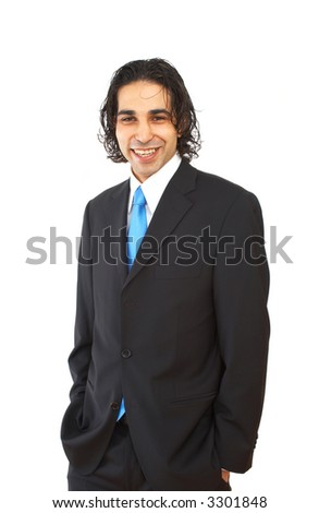 young happy businessman portrait on white background - stock photo