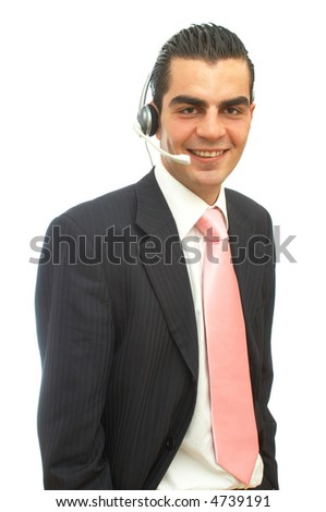 young happy businessman ready to help with a headset on white