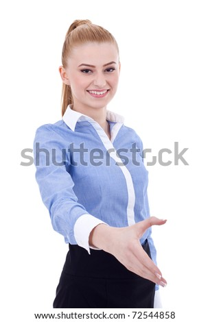 Young happy businesswoman giving hand for handshake, isolated on white - stock photo