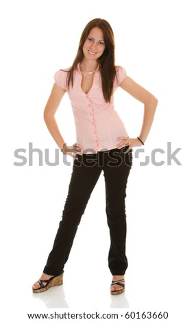 Young happy businesswoman isolate on white background - stock photo