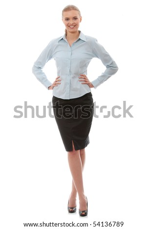 Young happy businesswoman, isolated on white - stock photo