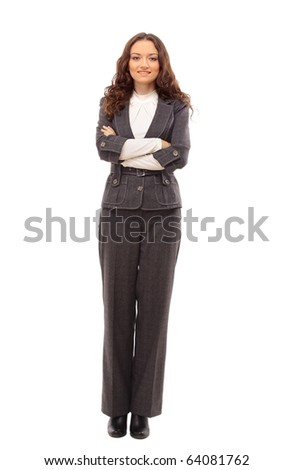 Young happy businesswoman, isolated on white