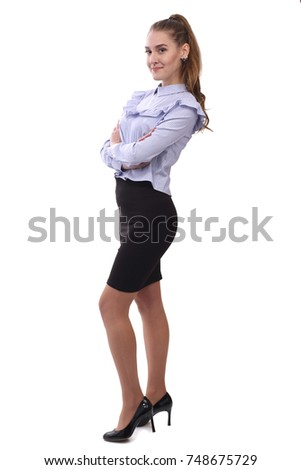 Young happy businesswoman isolated on white background