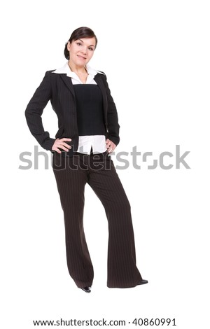 young happy businesswoman. over white background
