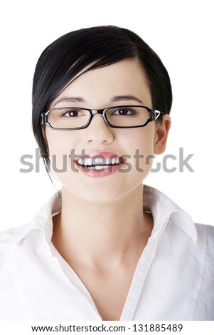 Young happy businesswoman portrait, isolated on white - stock photo