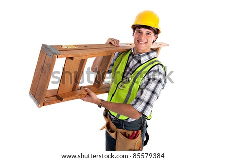 Young Happy Carpenter Carrying Ladders on Isolated Background - stock photo
