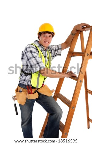 Young Happy Carpenter Ready to Work on Isolated Background - stock photo