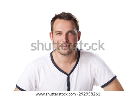 Young happy casual man portrait isolated on white background - stock photo