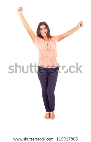 Young happy casual woman posing with toothy smile