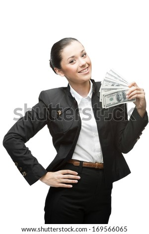 young happy caucasian businesswoman in black suit holding money isolated on white background