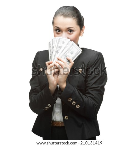 young happy caucasian businesswoman in black suit holding money isolated on white background - stock photo