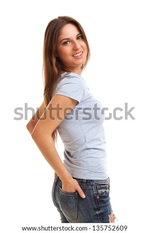 Young happy caucasian woman isolated over white background