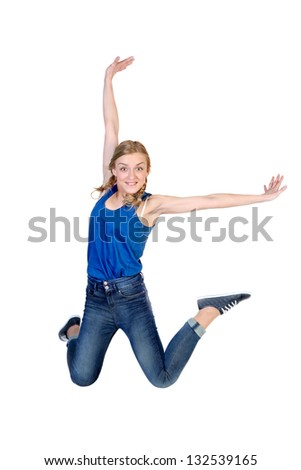 Young happy caucasian woman jumping in the air , isolated on white background - stock photo