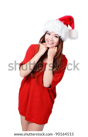 Young happy Christmas girl smile isolated on gray background - stock photo