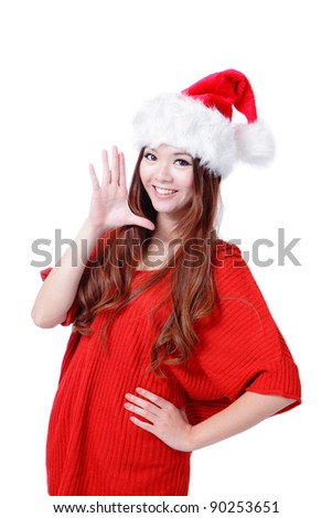 Young happy Christmas girl smile isolated on white background - stock photo