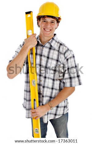 Young Happy Construction Worker on Isolated Background - stock photo