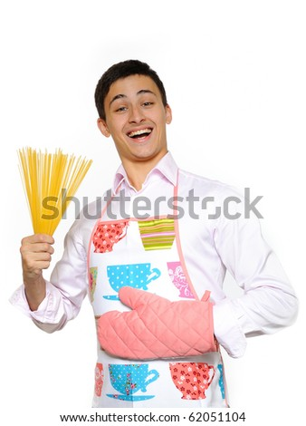 young happy cook with spagetti pasta. isolated on white background