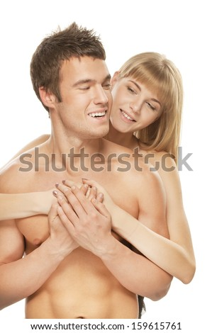 Young happy couple: brunette laughing man and smiling blonde woman against white background.