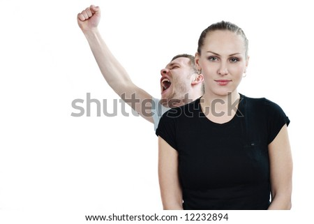 Young happy couple cheerful - stock photo