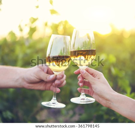 Young happy couple enjoying a glasses of white wine in the vineeard - stock photo