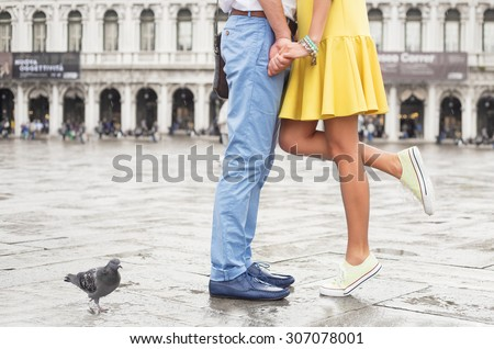 Young happy couple meeting - stock photo