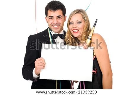 Young happy couple with blank card celebration new year - stock photo
