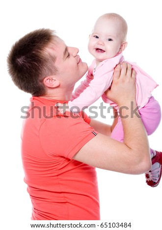 young happy daddy throws up the kid upwards - isolated - stock photo