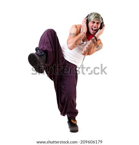young happy dancing man - stock photo
