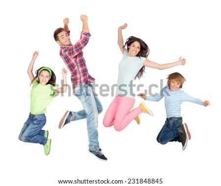 Young happy family jumping isolated on a white background - stock photo