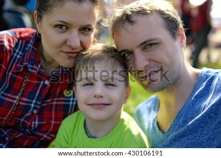 Young happy family portrait