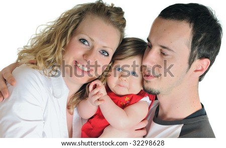 young happy family with beautiful baby playing and smile  isolated on white in studio