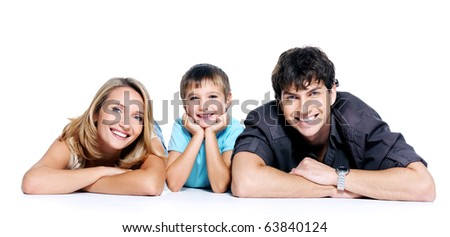 young happy family with child posing on white background - stock photo