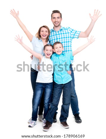 Young happy family with children raised hands up - isolated on white background - stock photo
