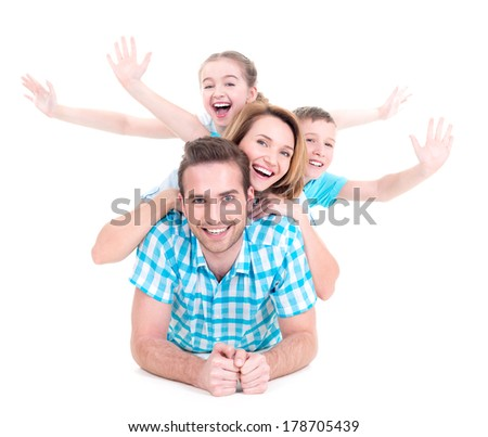 Young happy family with raised hands up - isolated on white background - stock photo