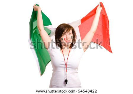 young happy female with italian flags, plus two flags painted on her cheeks, isolated on white