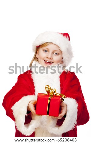 Young happy girl dressed as santa claus holds christmas gift in hands.  Isolated on white background. - stock photo