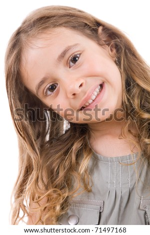 young happy girl portrait, isolated on white