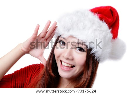 Young Happy Girl Say Hello with Christmas hat and red cloth Isolated on white background