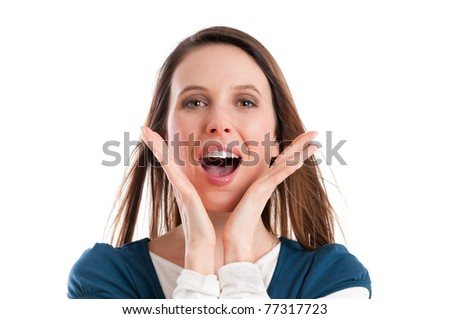 Young happy girl shouting and using voice to call isolated on white background