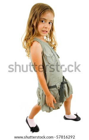 young happy girl smiling full length, isolated on white