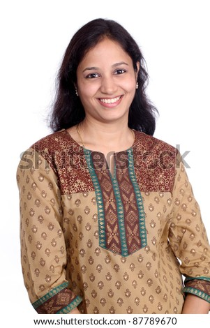 Young happy indian woman against white - stock photo