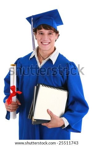 Young Happy Male College Student Holding Graduation Certificate on Isolated background