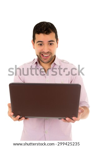 young happy man holding laptop isolated on white - stock photo