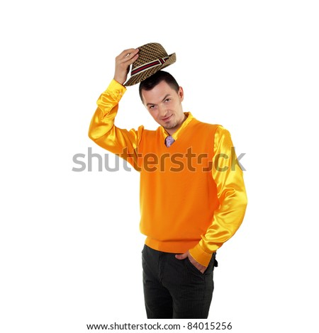 young happy man in bright colour wear with funny expression - stock photo