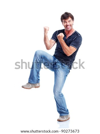 Young happy man. Isolated over white background.
