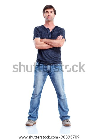 Young happy man. Isolated over white background. - stock photo