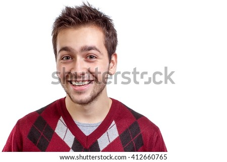 Young happy man smiling isolated on white background - stock photo