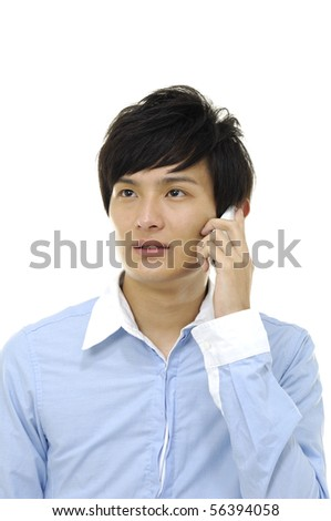 Young happy man talking on a mobile phone, isolated on white - stock photo