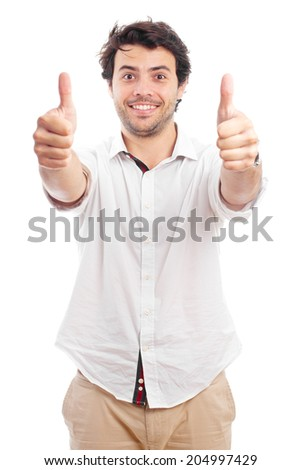 young happy man with two thumb up - stock photo